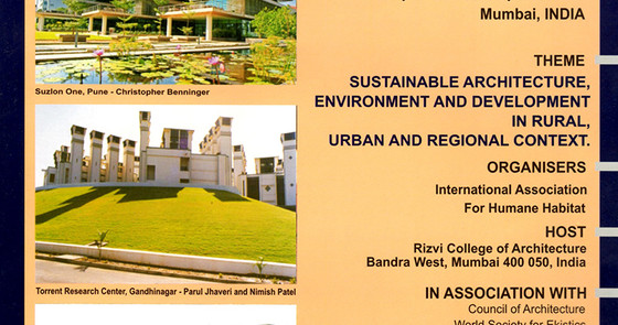 Presentation at the 17th international conference on Human Habitat, in Mumbai